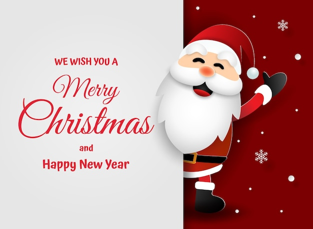 Paper art of santa claus merry christmas and happy new year Premium Vector