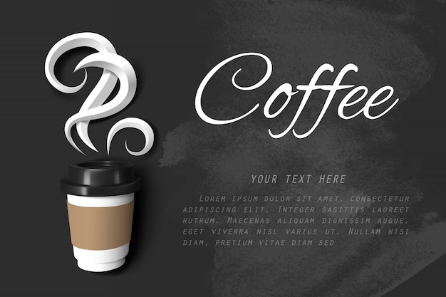 Paper art of smoke of coffee and paper cup of coffee on black chalkboard with copy space Premium Vector