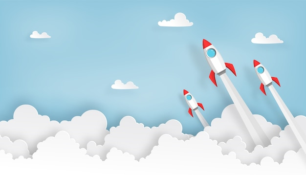 Paper art of space rocket launch to the sky Premium Vector