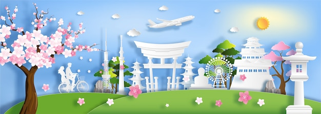 Paper art style of japan landmark and tourist attractions. Premium Vector