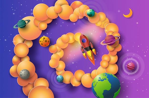 宇宙を飛んでいるロケットのペーパーアートスタイルは、コンセプトを開始します。 Premiumベクター