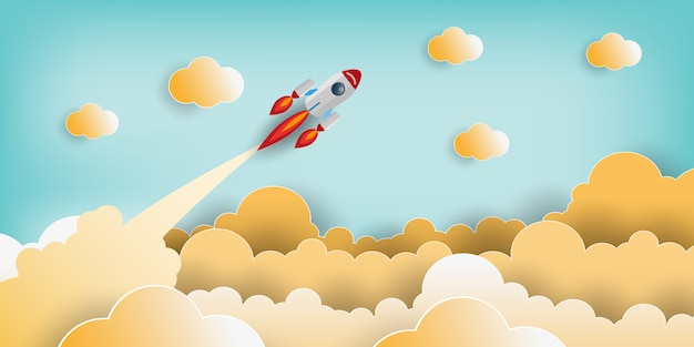 Paper art style of rocket flying over the sky Premium Vector