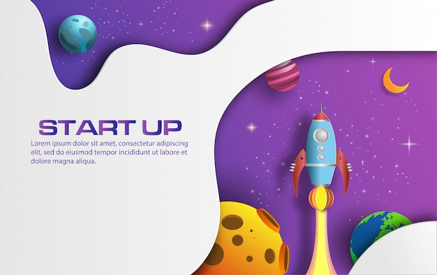 Paper art style of rocket flying in space with start up concept. Premium Vector