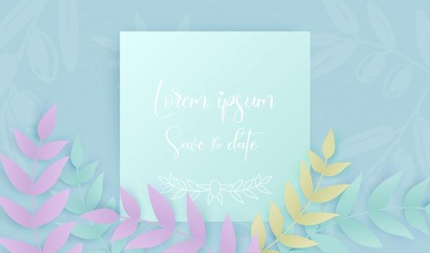 열대 다른 잎과 흰색 텍스트와 종이 아트 스타일은 날짜를 저장 프리미엄 벡터