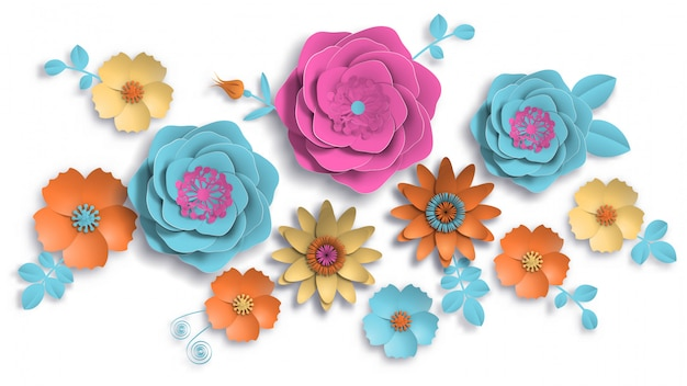 Paper art, summer flowers with leaves cut of paper. Premium Vector