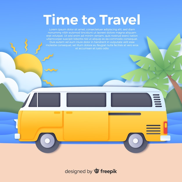 Paper art travel background Free Vector