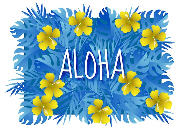 Paper art with aloha summer season template design vector Premium Vector
