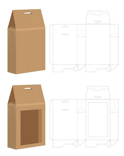 paper bag die cut mock up template vector vector