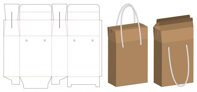 Paper bag packaging die-cut and 3d bag mockup Premium Vector