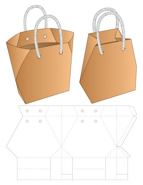 paper bag packaging die cut template   3d vector