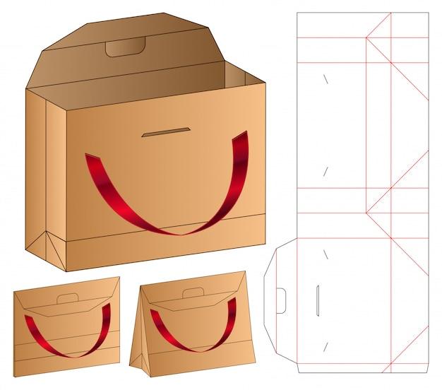 Paper bag packaging die cut template   3d Premium Vector