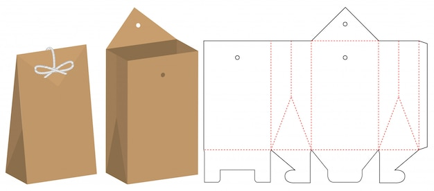 Paper bag packaging die cut template design Premium Vector