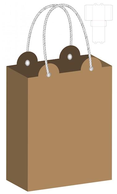 paper bag packaging die cut template design vector