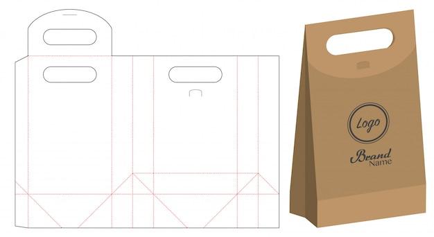 Paper bag packaging die-cut Premium Vector