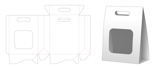 Paper bag packaging with window die cut template design Premium Vector