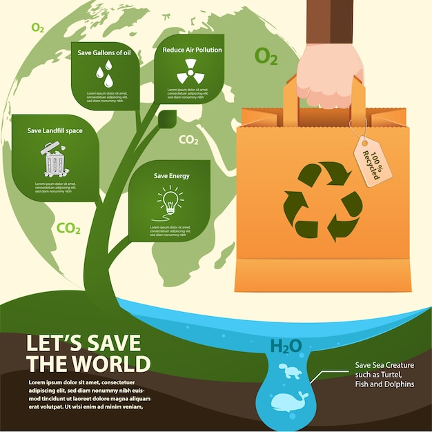 Paper bag reused for save the world infographic. Premium Vector
