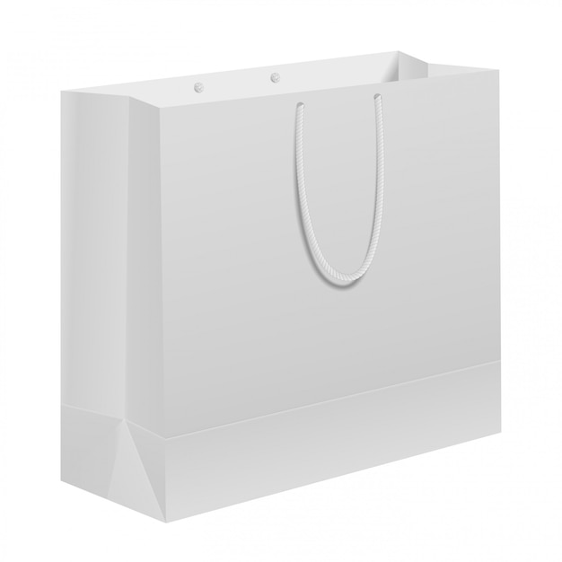 Paper bag. white carry gift template with handle Vector ...White Paper Bag Vector