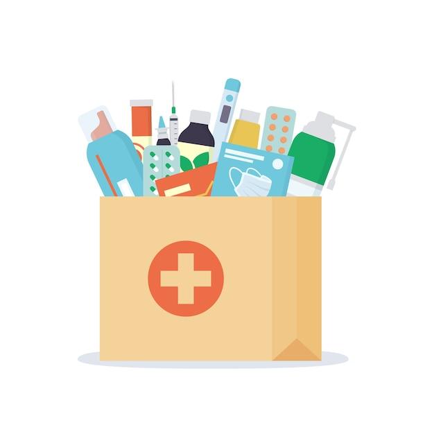 Бумажный пакет с лекарствами, лекарствами, таблетками и бутылками внутри. аптечная служба доставки на дом. Premium векторы