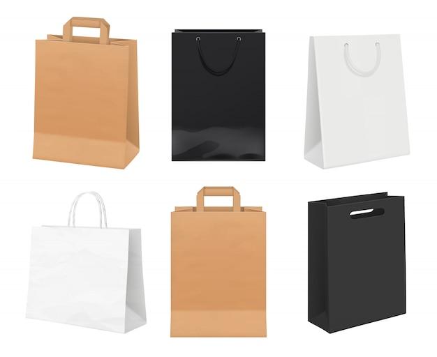 紙袋が空です。白とクラフト紙の買い物袋からのアイデンティティパッケージ現実的なテンプレート Premiumベクター