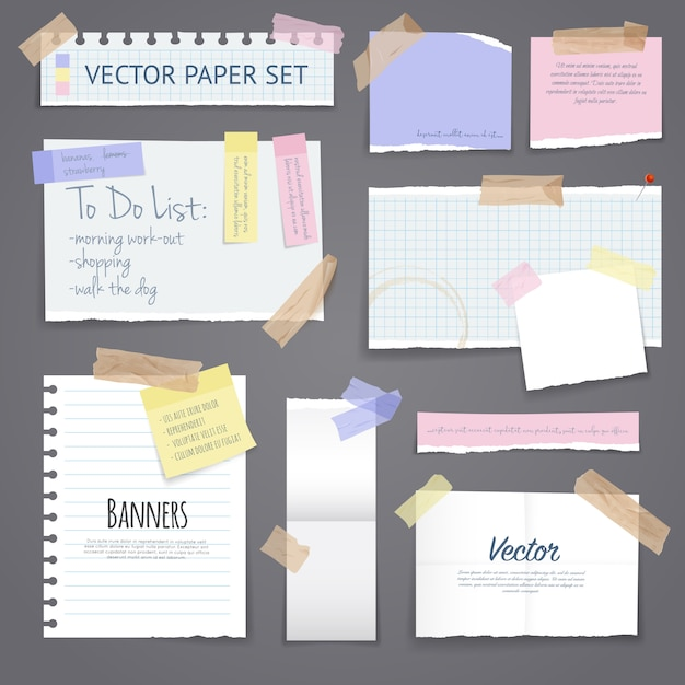 Paper banners set with sticky tape Free Vector