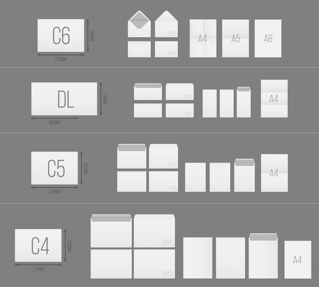 Paper blank envelopes template set. Premium Vector