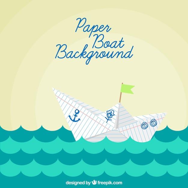 Бумажная лодка фон в плоский дизайн Бесплатные векторы
