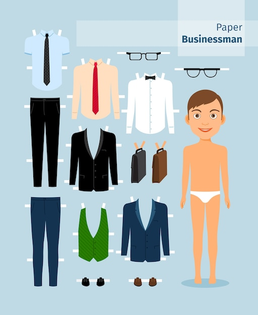 Paper businessman. suit and shirt, glasses and briefcase. cute dress up paper doll. body template. business collection. Free Vector