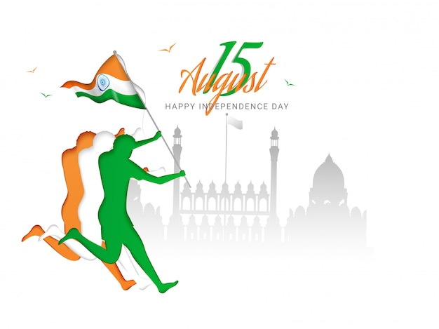 Paper character of human holding indian national flag with red fort monument for happy independence day. Premium Vector