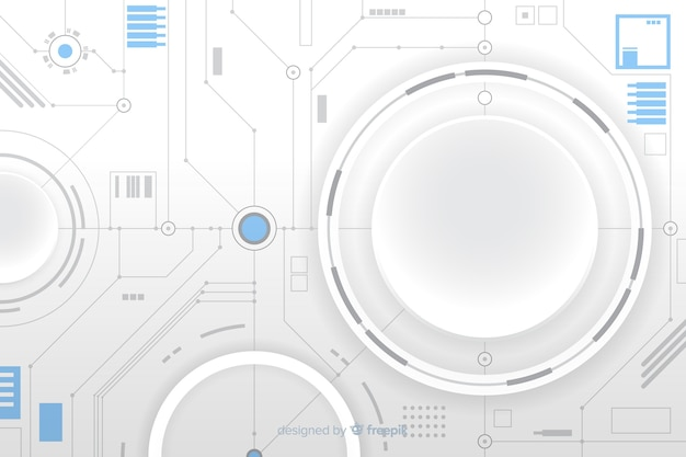 Paper circle with circuit board background Free Vector