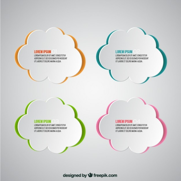 paper clouds template vector free download