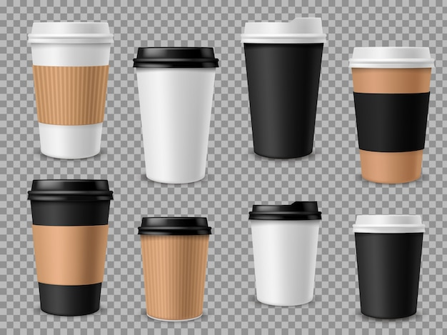 Paper coffee cups set. white paper cups, blank brown container with lid for latte mocha cappuccino drinks realistic  3d mockups Premium Vector
