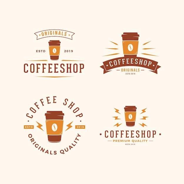 Paper cup coffee logo pack Premium Vector