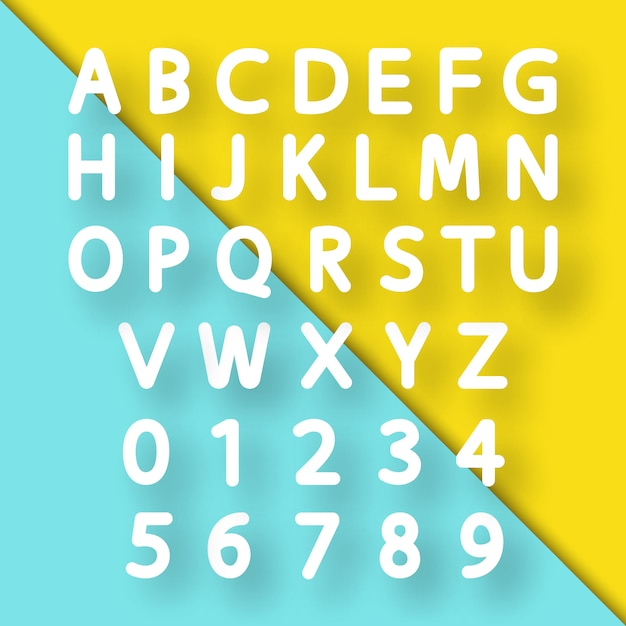 Paper cut alphabet font Premium Vector