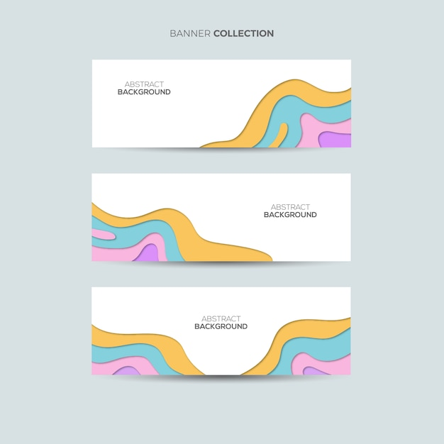 Paper cut banner background Premium Vector