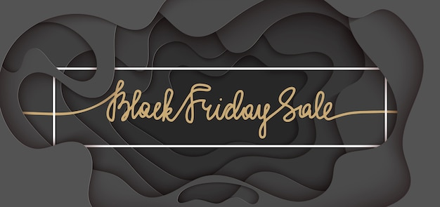 Paper cut banner with lettering. black friday sale Premium Vector