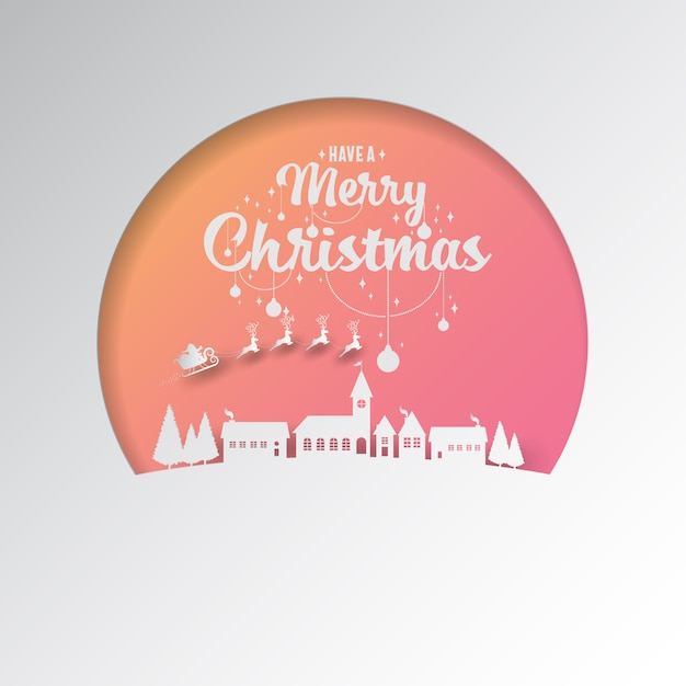 Paper cut by santa sleigh flying into the winter village. Premium Vector