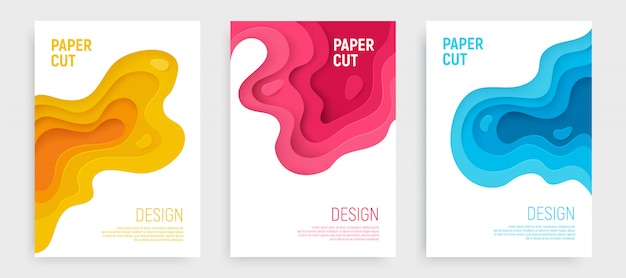 Paper cut cpver set with blue, pink, yellow waves layers. Premium Vector