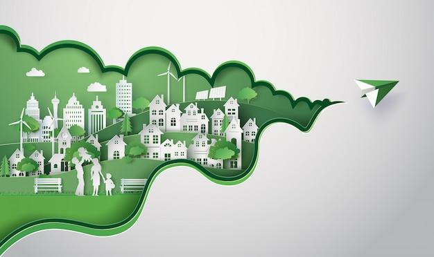 Paper cut of eco city Premium Vector