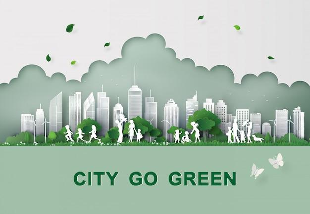 Paper cut of eco concept. Premium Vector