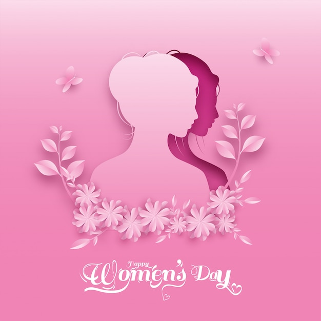 Paper cut female face with flowers, leaves and butterflies on pink background for happy women's day. Premium Vector