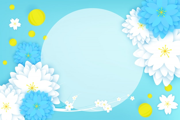 Paper cut floral greeting card Premium Vector