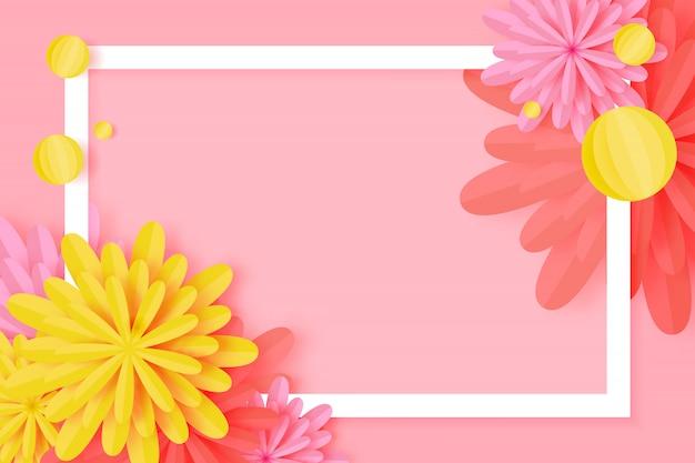 Paper cut floral greeting card Premium Vector