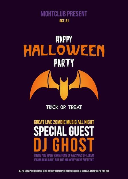 Paper cut flyer with bat for halloween celebration. Premium Vector
