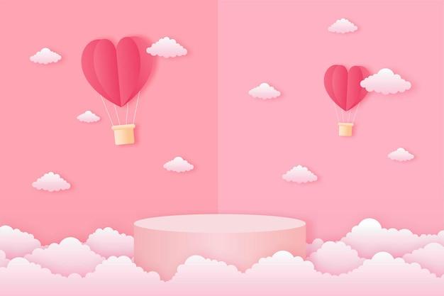 종이 잘라 해피 발렌타인 데이 개념. 구름, 심장 모양 뜨거운 공기 풍선 비행 및 기하학 모양 연단 핑크 하늘 배경 종이 예술 스타일 풍경. 프리미엄 벡터