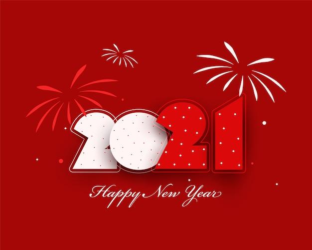 새 해 복 많이 받으세요 빨간색 배경에 불꽃 놀이와 종이 잘라 번호. 프리미엄 벡터
