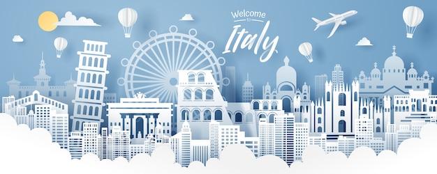 Отрезок бумаги ориентир ориентира италии, перемещения и концепции туризма. Premium векторы