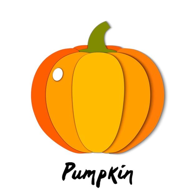 Paper cut orange pumpkin, cut shapes Premium Vector