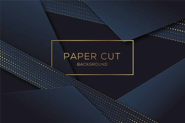Paper cut shapes background in halftone Free Vector