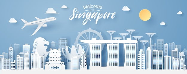 Paper cut of singapore landmark Premium Vector