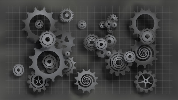 Paper cut style realistic black gears and cogs on gray blueprint Premium Vector
